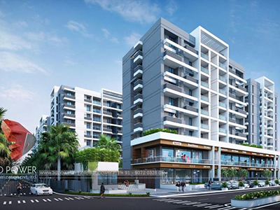 Agra-apartment-2bhk-3bhk-3d-Architectural-rendering-external-elevation-design-animation-day-view