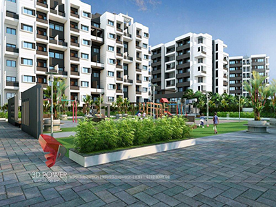 Agra-beautifull-township-eye-level-view-apartments-rendering-3d-visualization-service