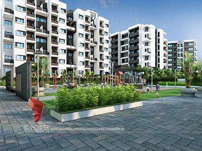 Akola-apartment-rendering-3d-visualization-service-beautifull-township-eye-level-view