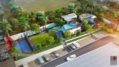 Apartment-rendering-Parking-garden-bird-view-walkthrough-animation-services