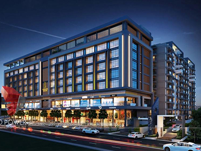 Aurangabad-3d-rendering-company-animation-3d-Architectural-animation-services-buildings-studio-apartment-night-view