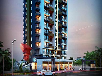 Aurangabad-virtual-flythrough-3d-rendering-company-architecture-services-building-apartment-evening-view-eye-level-view