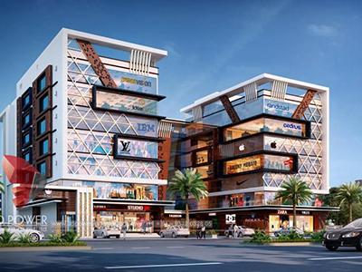 Aurangabad-3d-visualization-architectural-visualization-virtual-flythrough-comercial-complex-evening-view