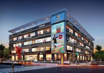 Aurangabad-architectural-services-3d-model-architecture-shopping-mall-eye-level-view-night-view-building-apartment-rendering