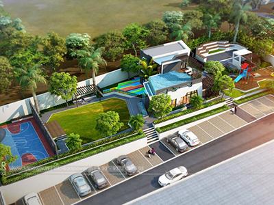 Aurangabad-Apartment-Parking-garden-bird-view-walkthrough-animation-services