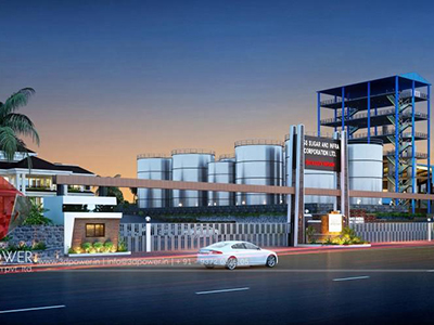 Bangalore-3d--model-architecture-elevation-rendering-industrial-plant-panoramic-night-view