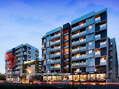 Bangalore-3d-Architectural-services-3d-real-estate-rendering-company-apartment-buildings-evening-view