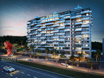 Bangalore-Big-projrct-india-highrise-3d-elevation-evening-view3d-rendering-company-animation-3d-Architectural-animation-services