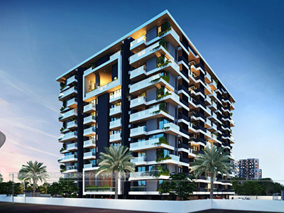 Bangalore-Front-view-beutiful-apartmentsArchitectural-flythrugh-real-estate-3d-rendering-company-animation-company