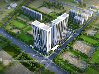 Bangalore-Highrise-apartments-3d-bird-eye-view3d-real-estate-Project-rendering-Architectural-3drendering-company