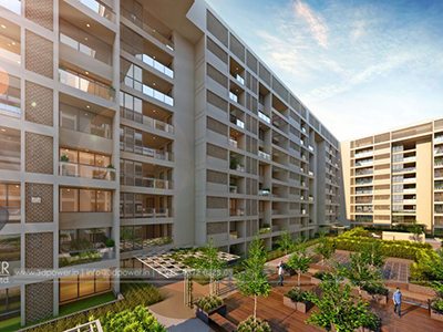 Bangalore-Side-view-highrise-apartments-rendering-company-service-provider
