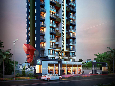 Bangalore-virtual-flythrough-3d-rendering-company-architecture-services-building-apartment-evening-view-eye-level-view