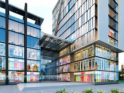 Bangalore-Shoping-complex-elevation-entry-gate3d-walkthrough-visualization-3d-Architectural-animation-services