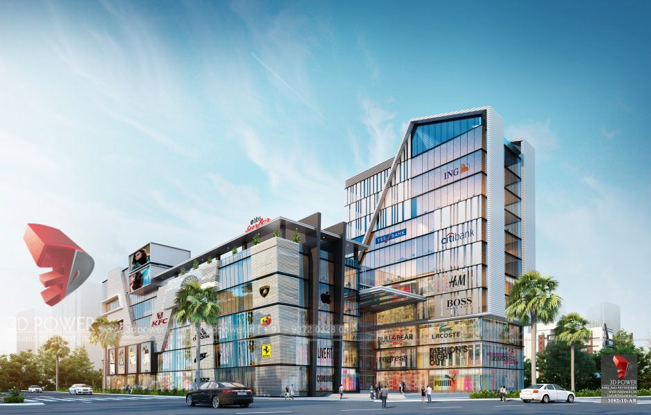 Bangalore-Shopping-complex-3d-design-side-view-3d-model-visualization-architectural-visualization-3d-rendering-service-provider-company