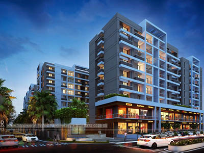 Bangalore-Side-view-shopping-complex-elevation3d-view-design