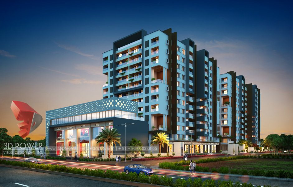 Bangalore-township-evening-3d-view-architectural-flythrugh-real-estate-3d-rendering-service-provider-animation-company