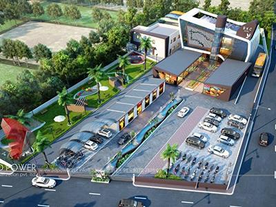 3d-architectural-flythrough-design-services-shopping-buildings-parking-birds-eye-view-Bangalore