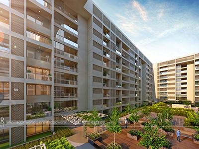 Bangalore-Side-view-highrise-apartments-3d-walkthrough-company-service-provider