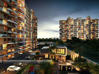 Bangalore-beautiful-evening-view-of-apartments-india-architectural-flythrough