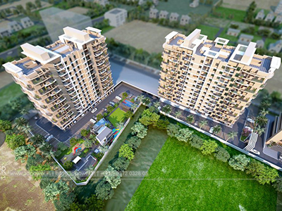 Bangalore-High-rise-apartments-bird-eye-view-walkthrough-freelance-company-animation-services