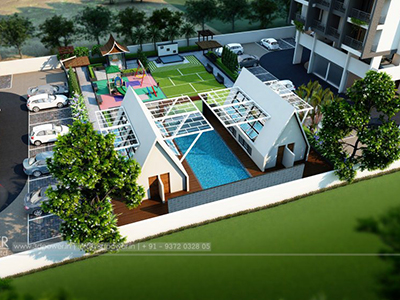 Bangalore-play-ground-swimming-pool-parking-lavish-apartment-design-3d-walkthrough-freelance-company-service-india