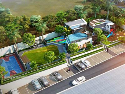Bangalore-Apartment-Parking-garden-bird-view-real-estate-walkthrough-animation-services