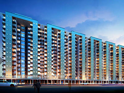 Bangalore-Apartments-highrise-elevation-front-evening-view-real-estate-walkthrough-animation-services
