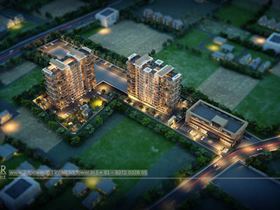 Bangalore-3d-animation-walkthrough-freelance-services-studio-high-rise-appartment-buildings-birds-eye-view