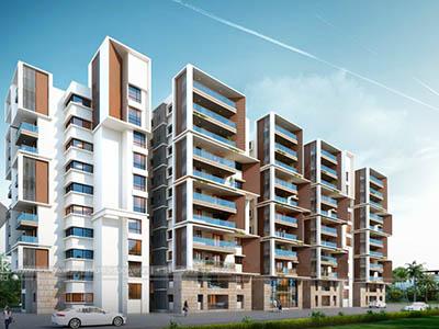 Bangalore-Apartments-highrise-elevation-front-evening-view-walkthrough-freelance-company-animation-services