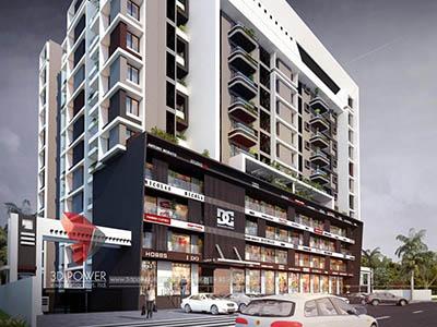 walkthrough-freelance-company-Bangalore-Architecture-birds-eye-view-high-rise-apartments-night-view