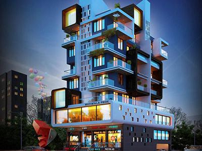 Ghaziabad-apartment-night-view-eye-level-virtual-elevation-walkthrougharchitect-design-firm-3d-walkthrough-company