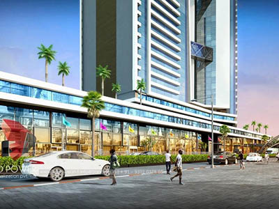 Hyderabad-3d-walkthrough-services-3d-real-estate-walkthrough-shopping-area-evening-view-eye-level-view