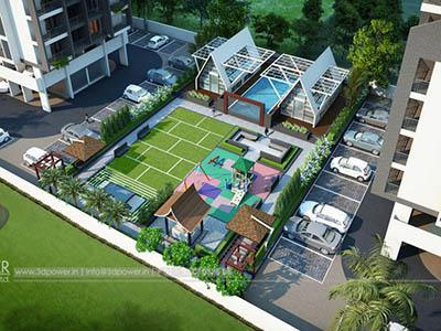 Hyderabad-Top-view-parking-apartments-real-estate-3d-rendering3d-model-visualization-architectural-visualization-3d-walkthrough-company