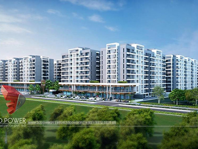 Hyderabad-3d-architectural-visualization-Architectural-animation-services-township-day-view-bird-eye-view