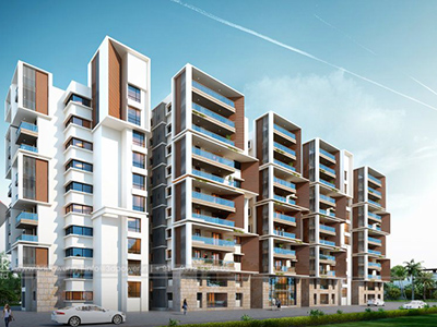 Hyderabad-Apartments-highrise-elevation-front-evening-view-rendering-service-provider-animation-services