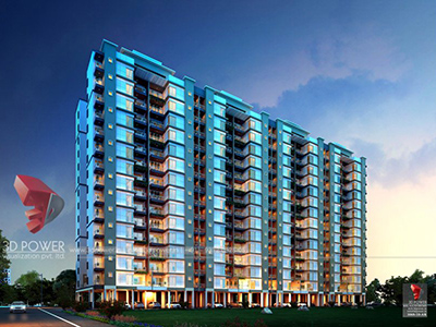 Hyderabad-Highrise-apartments-elevation-classic-view-evening