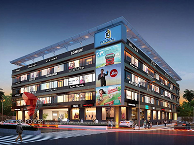 Hyderabad-architectural-services-3d-model-architecture-shopping-mall-eye-level-view-night-view-building-apartment-rendering