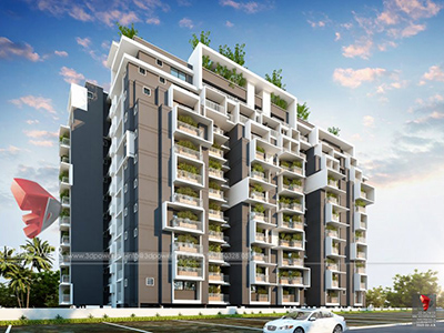 Hyderabad-architectural-visualization-3d-rendering-service-provider-company-apartments-birds-eye-view-evening-view-3d-model-visualization