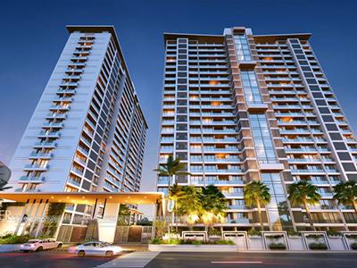Hyderabad-High-rise-apartments-bird-eye-view-walkthrough-service-provider-animation-services