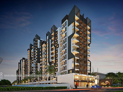 Hyderabad-Township-apartments-evening-view-3d-model-visualization-architectural-visualization-3d-walkthrough-service-provider-company