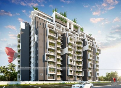 Hyderabad-architectural-visualization-3d-walkthrough-service-provider-company-apartments-birds-eye-view-evening-view-3d-model-visualization