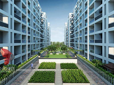 Hyderabad-3d-model-architecture-3d-walkthrough-company-evening-view-township-isometric