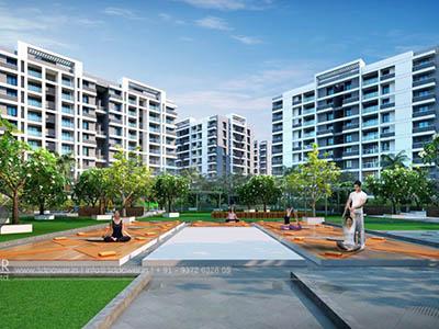 Hyderabad-Playground-children-women-apartments-3d-design-elevation-3d-rendering