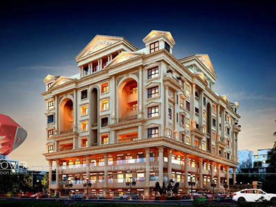 architectural-design-Hyderabad-architectural-rendering-services-shopping-apartment-night-view-3d-architecture-studio