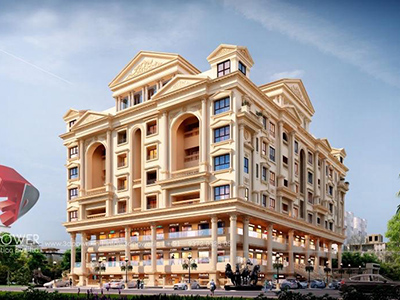 Hyderabad-3d-exterior-render-architectural-comercial-residential-complex-day-view-panormaic