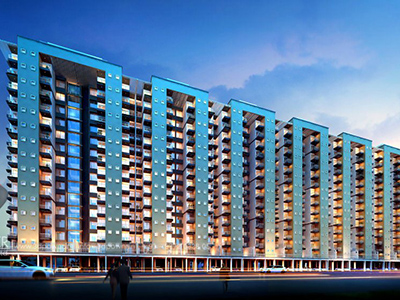 Hyderabad-Apartments-highrise-elevation-front-evening-view-real-estate-walkthrough-animation-services
