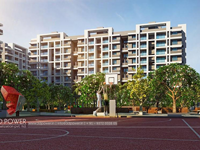 Hyderabad-Architecture-3d-real-estate-walkthrough-visualization-company-warms-eye-view-high-rise-apartments-night-view