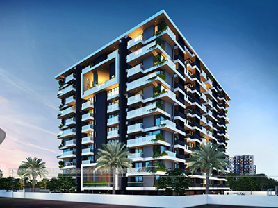 Hyderabad-Front-view-beutiful-apartmentsArchitectural-flythrough-real-estate-3d-real-estate-walkthrough-animation-company