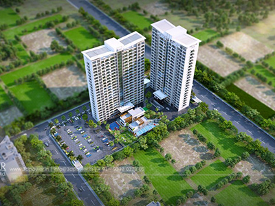 Hyderabad-Highrise-apartments-front-view-3d-model-visualization-architectural-visualization-3d-real-estate-walkthrough-company