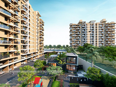 Hyderabad-Towsnhip-view-side-elevationArchitectural-flythrough-real-estate-3d-real-estate-walkthrough-animation-company